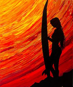 surfer girl with sunset painting