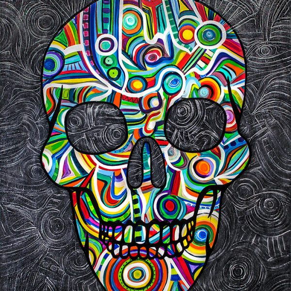 colorful skull painting